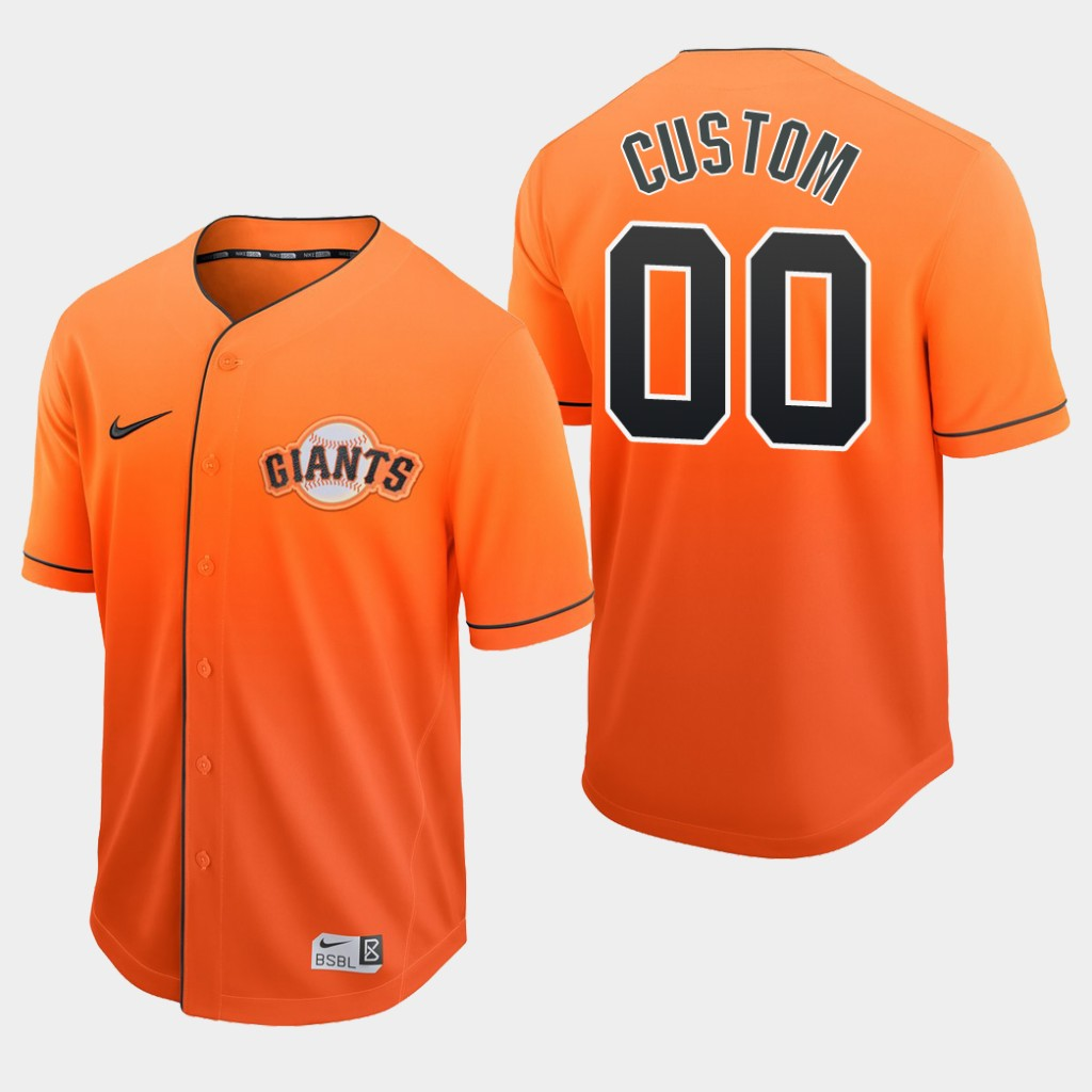 San Francisco Giants Custom Orange Fade Authentic Jersey