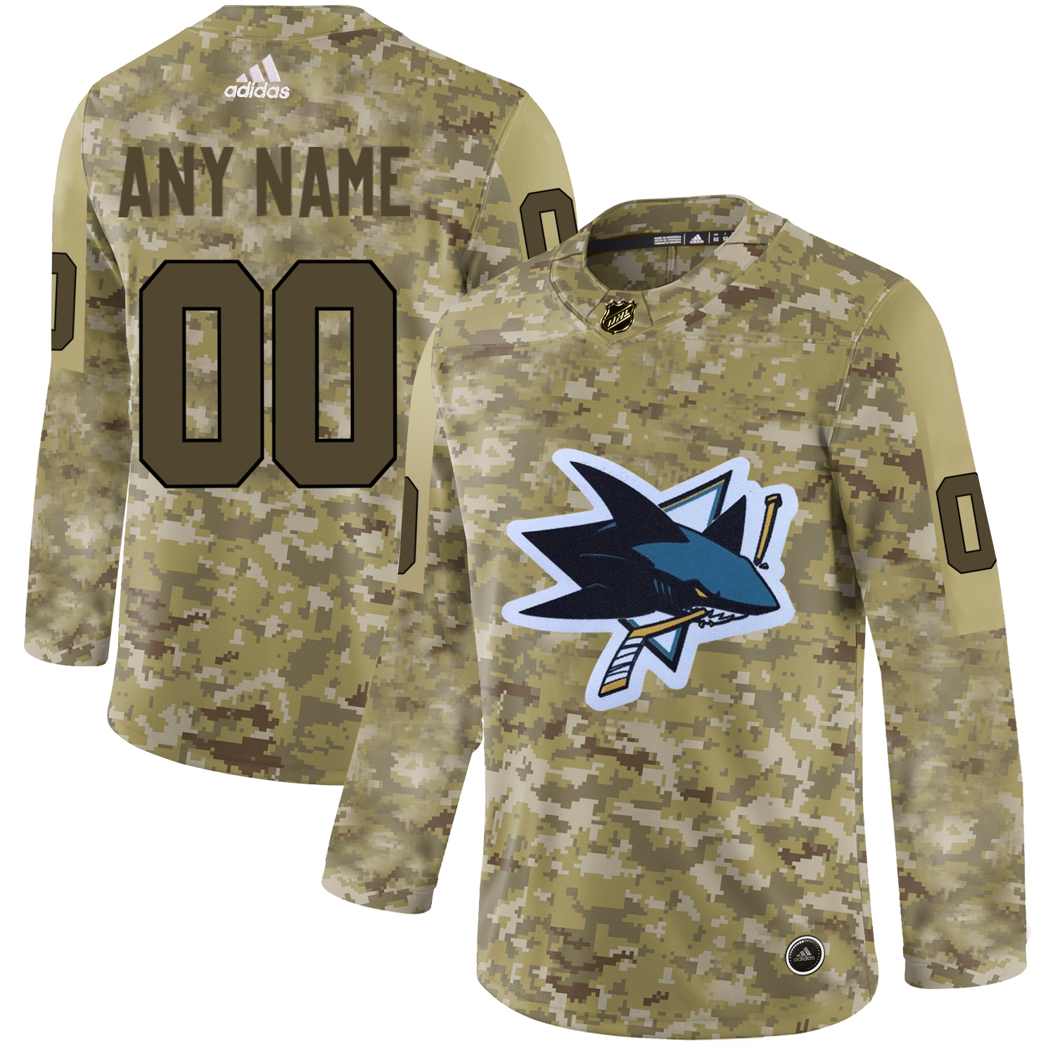 San Jose Sharks Camo Men's Customized Adidas Jersey