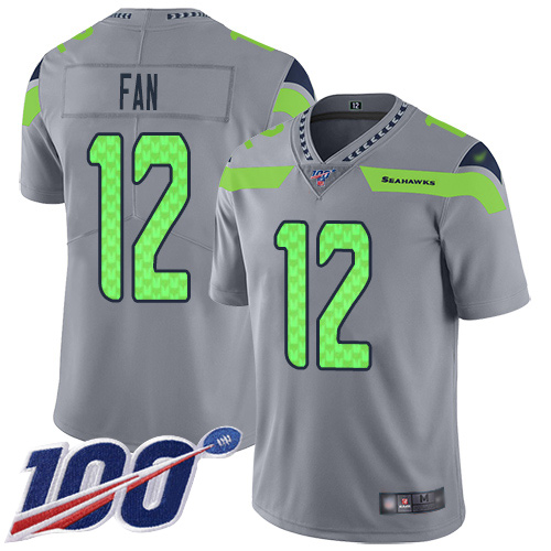 Seahawks #12 Fan Gray Men's Stitched Football Limited Inverted Legend 100th Season Jersey