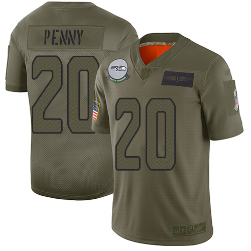 Seahawks #20 Rashaad Penny Camo Men's Stitched Football Limited 2019 Salute To Service Jersey