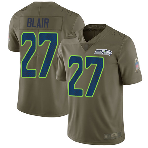 Seahawks #27 Marquise Blair Olive Men's Stitched Football Limited 2017 Salute To Service Jersey
