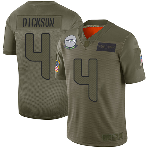 Seahawks #4 Michael Dickson Camo Men's Stitched Football Limited 2019 Salute To Service Jersey