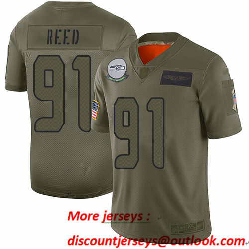 Seahawks #91 Jarran Reed Camo Men's Stitched Football Limited 2019 Salute To Service Jersey