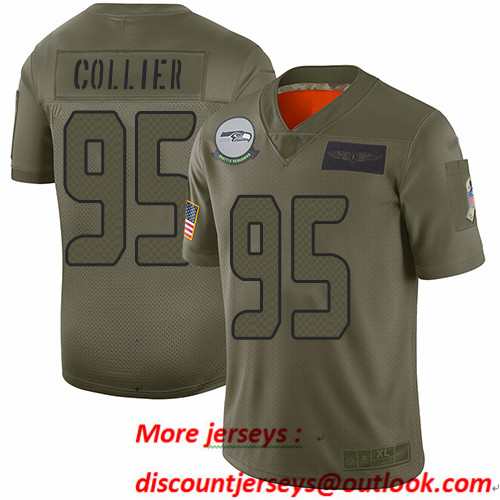 Seahawks #95 L.J. Collier Camo Men's Stitched Football Limited 2019 Salute To Service Jersey