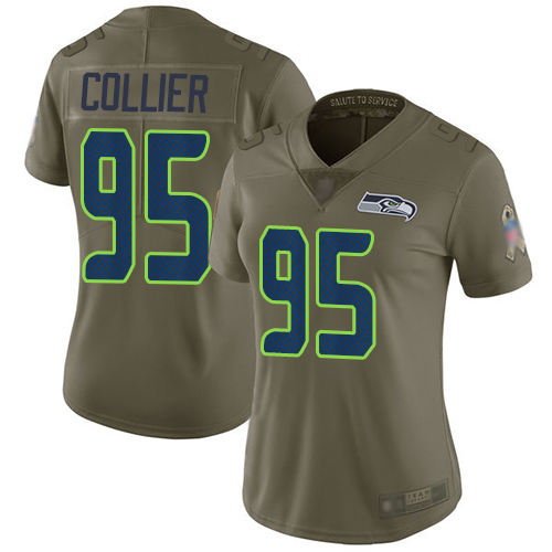 Seahawks #95 L.J. Collier Olive Women's Stitched Football Limited 2017 Salute to Service Jersey