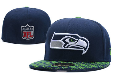 Seahawks Team Logo Navy Fitted Hat LX