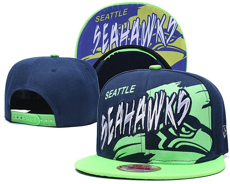 Seahawks Team Logo Navy Green Adjustable Hat TX