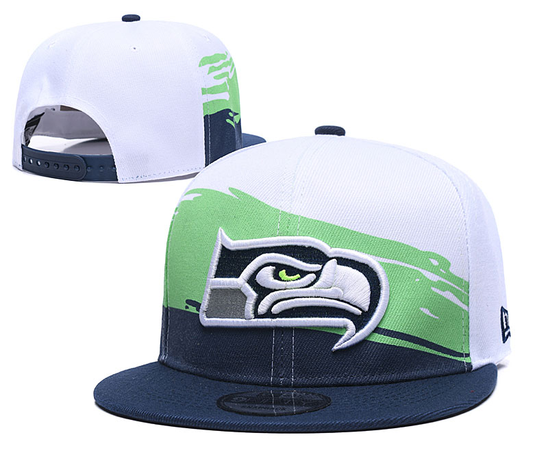 Seahawks Team Logo White Navy Adjustable Hat GS