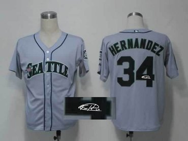 Seattle Mariners 34# Felix Hernandez Grey Throwback M&N MLB Jerseys(Signed)