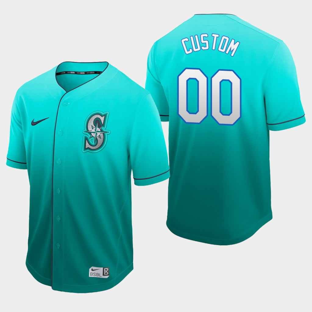 Seattle Mariners Custom Aqua Fade Authentic Jersey