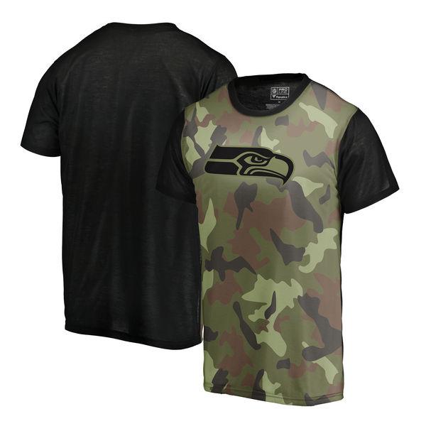 Seattle Seahawks Camo NFL Pro Line By Fanatics Branded Blast Sublimated T Shirt