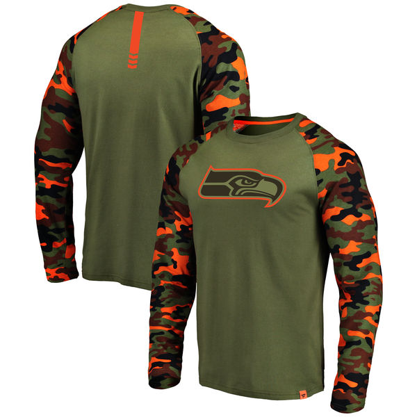 Seattle Seahawks Heathered Gray Camo NFL Pro Line By Fanatics Branded Long Sleeve T-Shirt