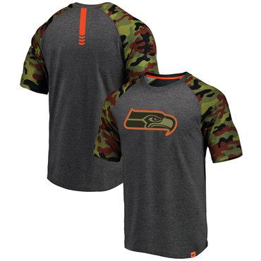 Seattle Seahawks Heathered Gray Camo NFL Pro Line By Fanatics Branded T-Shirt
