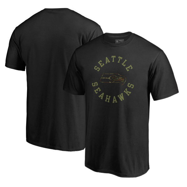 Seattle Seahawks NFL Pro Line By Fanatics Branded Camo Collection Liberty Big & Tall T-Shirt Black