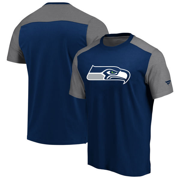 Seattle Seahawks NFL Pro Line By Fanatics Branded Iconic Color Block T-Shirt College NavyHeathered Gray