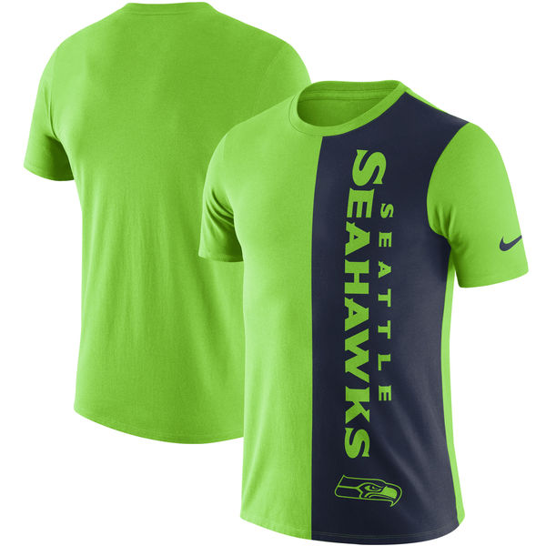 Seattle Seahawks Nike Coin Flip Tri Blend T-Shirt Neon Green College Navy