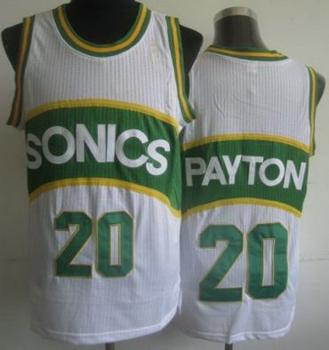 Seattle SuperSonics 20 Gary Payton White Hardwood Classics Revolution 30 NBA Jerseys