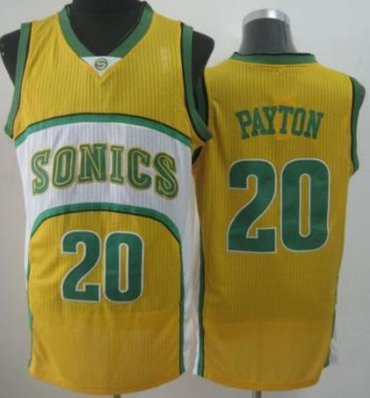 Seattle SuperSonics 20 Gary Payton Yellow Throwback Revolution 30 NBA Basketball Jerseys-2