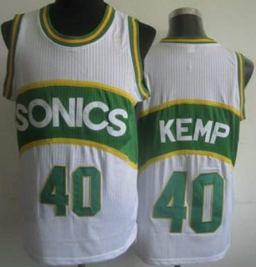 Seattle SuperSonics 40 Shawn Kemp White Hardwood Classics Revolution 30 NBA Jerseys