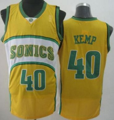 Seattle SuperSonics 40 Shawn Kemp Yellow Throwback Revolution 30 NBA Basketball Jerseys