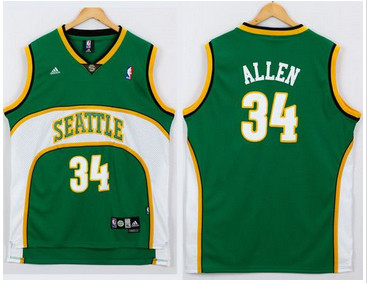 Seattle Supersonic #34 Ray Allen Green Seattle SuperSonics Style Stitched NBA Jersey