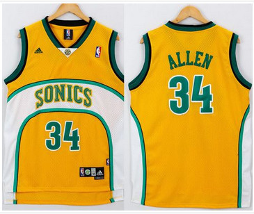 Seattle Supersonic #34 Ray Allen Yellow White SuperSonics Throwback Stitched NBA Jersey