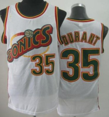 Seattle Supersonic 35 Kevin Durant White Revolution 30 NBA Basketball Jerseys