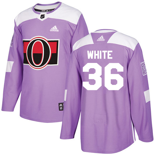 Senators #36 Colin White Purple Authentic Fights Cancer Stitched Hockey Jersey