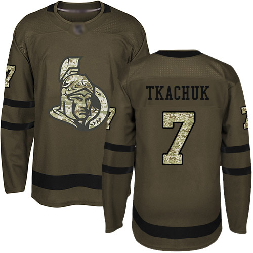 Senators #7 Brady Tkachuk Green Salute to Service Stitched Hockey Jersey