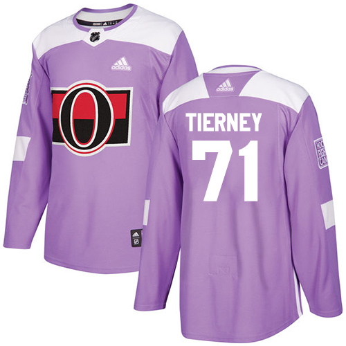 Senators #71 Chris Tierney Purple Authentic Fights Cancer Stitched Hockey Jersey