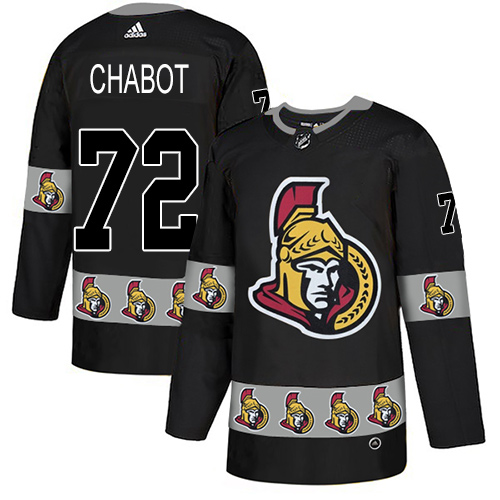 Senators #72 Thomas Chabot Black Authentic Team Logo Fashion Stitched Hockey Jersey