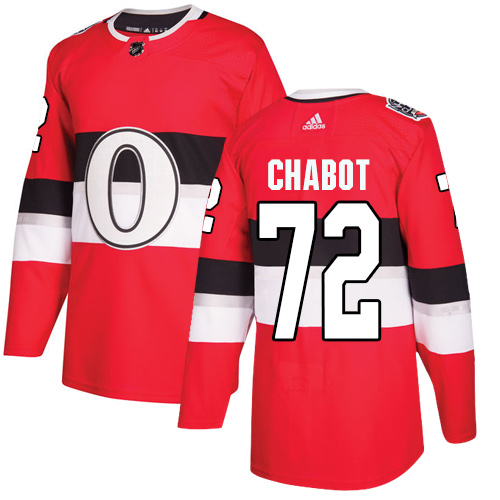 Senators #72 Thomas Chabot Red Authentic 2017 100 Classic Stitched Hockey Jersey