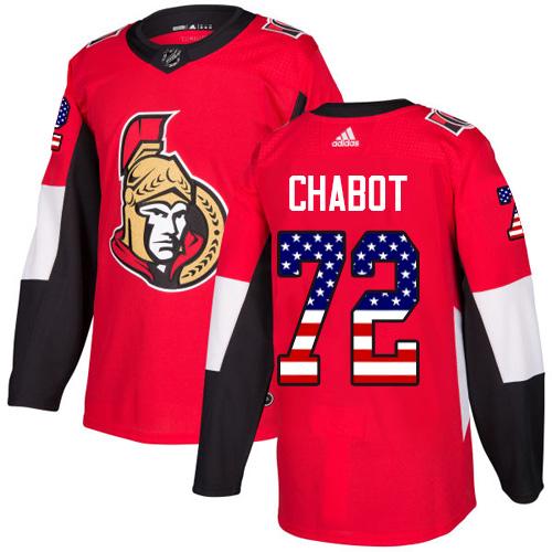 Senators #72 Thomas Chabot Red Home Authentic USA Flag Stitched Hockey Jersey