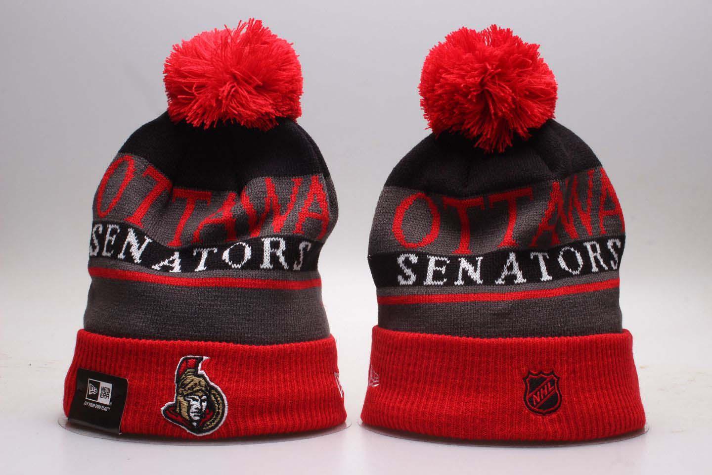 Senators Fresh Logo Red Sport Pom Cuffed Knit Hat YP