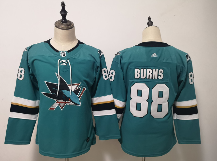 Sharks 88 Brent Burns Teal Youth Adidas Jersey