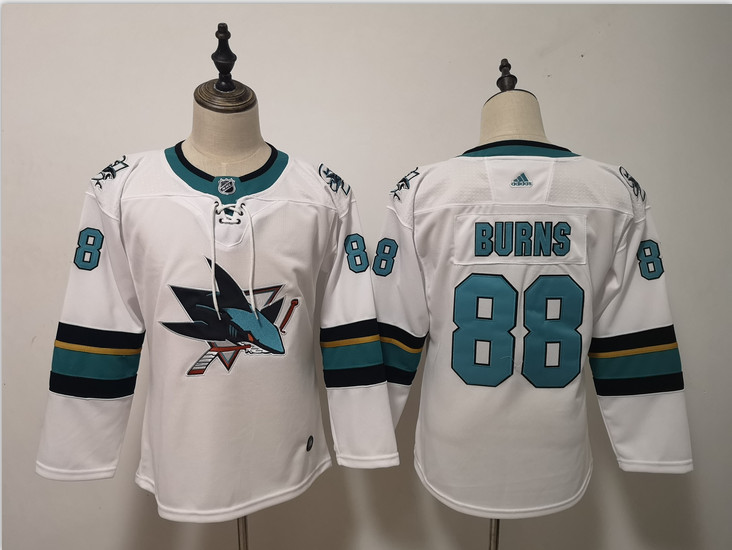 Sharks 88 Brent Burns White Youth Adidas Jersey