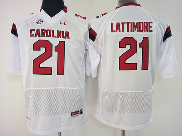 South Carolina Gamecocks 21 Marcus Lattimore White College Football Jersey