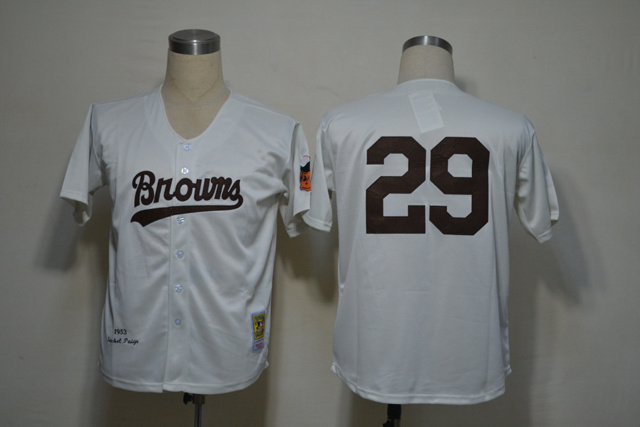 St.Louis Browns 29 Satchel Paige White M&N 1953 MLB Jerseys