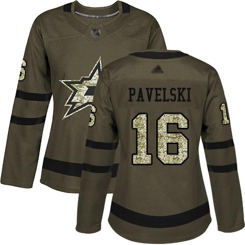 Stars #16 Joe Pavelski Green Salute to Service Women's Stitched Hockey Jersey