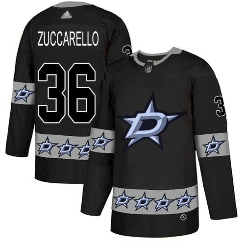 Stars #36 Mats Zuccarello Black Authentic Team Logo Fashion Stitched Hockey Jersey