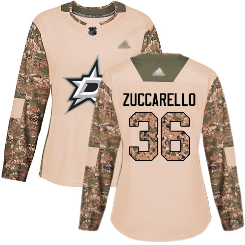 Stars #36 Mats Zuccarello Camo Authentic 2017 Veterans Day Women's Stitched Hockey Jersey