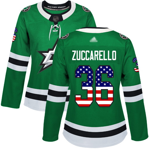Stars #36 Mats Zuccarello Green Home Authentic USA Flag Women's Stitched Hockey Jersey