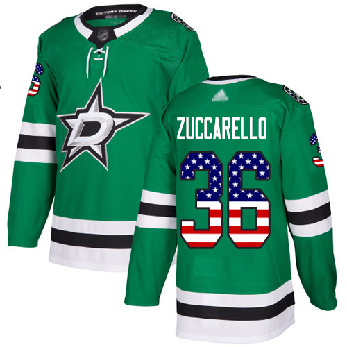 Stars #36 Mats Zuccarello Green Home Authentic USA Flag Youth Stitched Hockey Jersey
