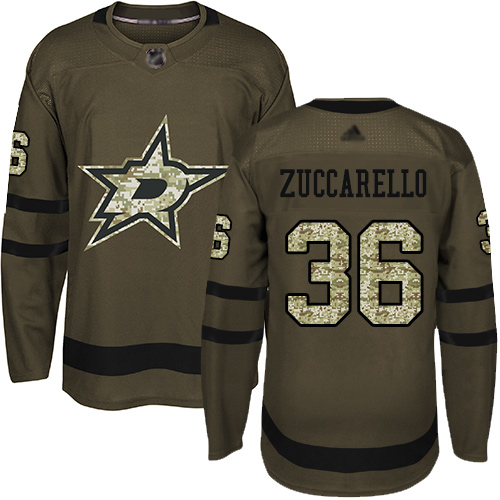 Stars #36 Mats Zuccarello Green Salute to Service Youth Stitched Hockey Jersey