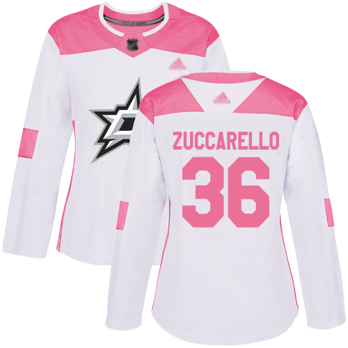 Stars #36 Mats Zuccarello White Pink Authentic Fashion Women's Stitched Hockey Jersey