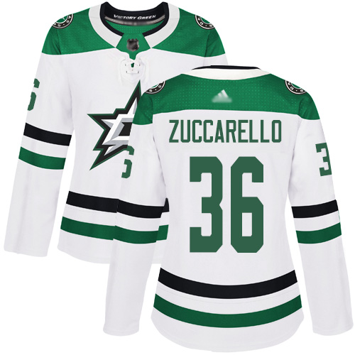 Stars #36 Mats Zuccarello White Road Authentic Women's Stitched Hockey Jersey