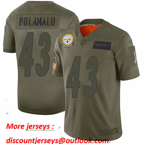 Steelers #43 Troy Polamalu Camo Youth Stitched Football Limited 2019 Salute to Service Jersey