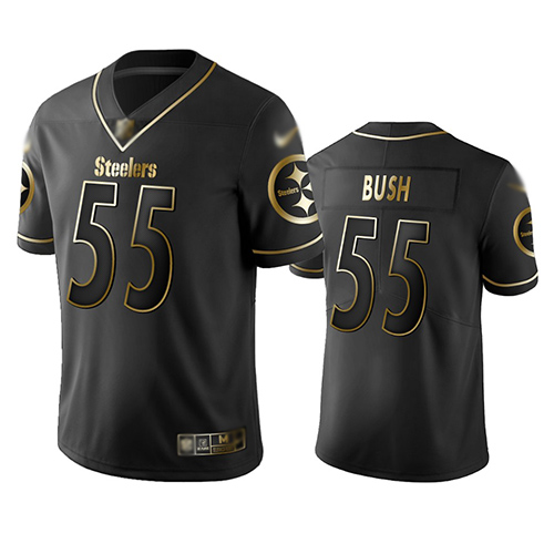 Steelers #55 Devin Bush Black Men's Stitched Football Limited Golden Edition Jersey