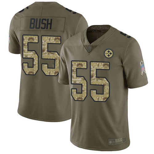 Steelers #55 Devin Bush Olive Camo Youth Stitched Football Limited 2017 Salute to Service Jersey