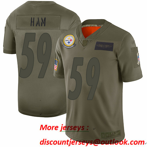 Steelers #59 Jack Ham Camo Men's Stitched Football Limited 2019 Salute To Service Jersey